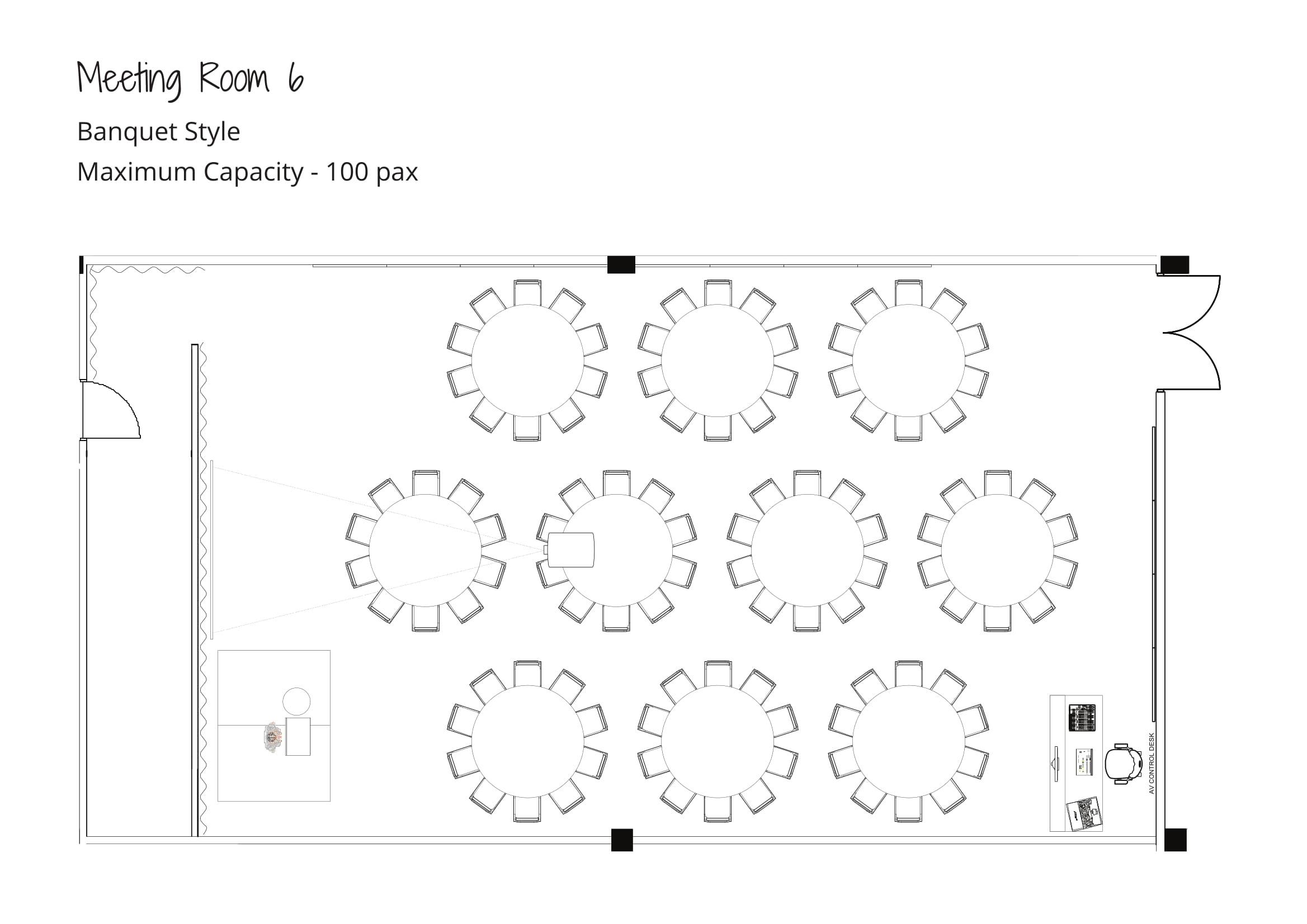 Level 2 - Maximum Capacity - Banquet Style - Meeting Room 6-1
