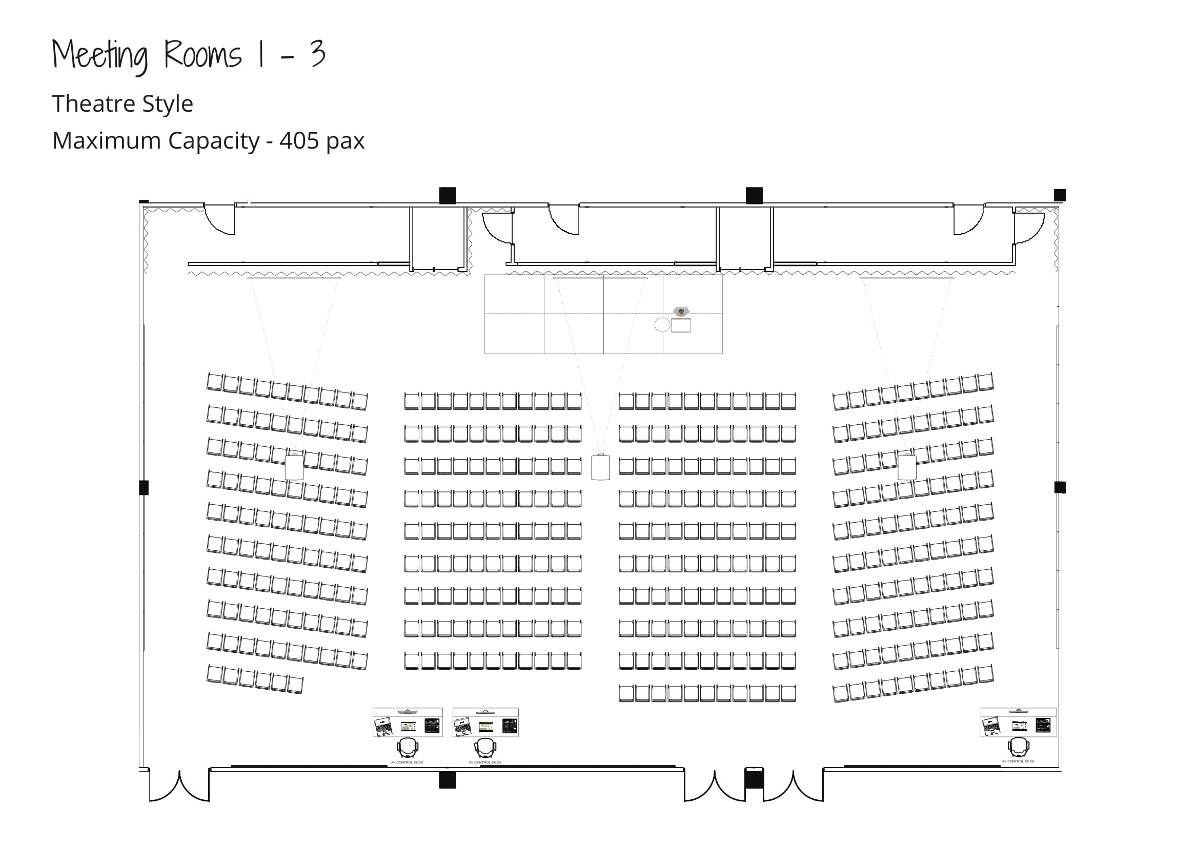Level 2 Meeting Rooms - Maximum Capacity - Theatre Style - Meeting Rooms 1-3 Combined-1
